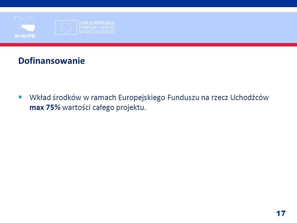 17 Dofinansowanie Wkład środków w ramach Europejskiego Funduszu na rzecz Uchodźców max 75% wartości całego projektu.