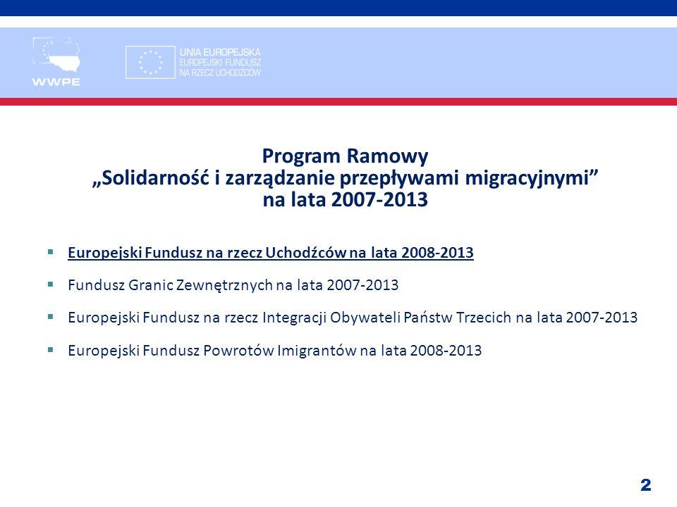 2 Program Ramowy Solidarność i zarządzanie przepływami migracyjnymi na lata 2007-2013 Europejski Fundusz na rzecz Uchodźców na lata 2008-2013 Fundusz