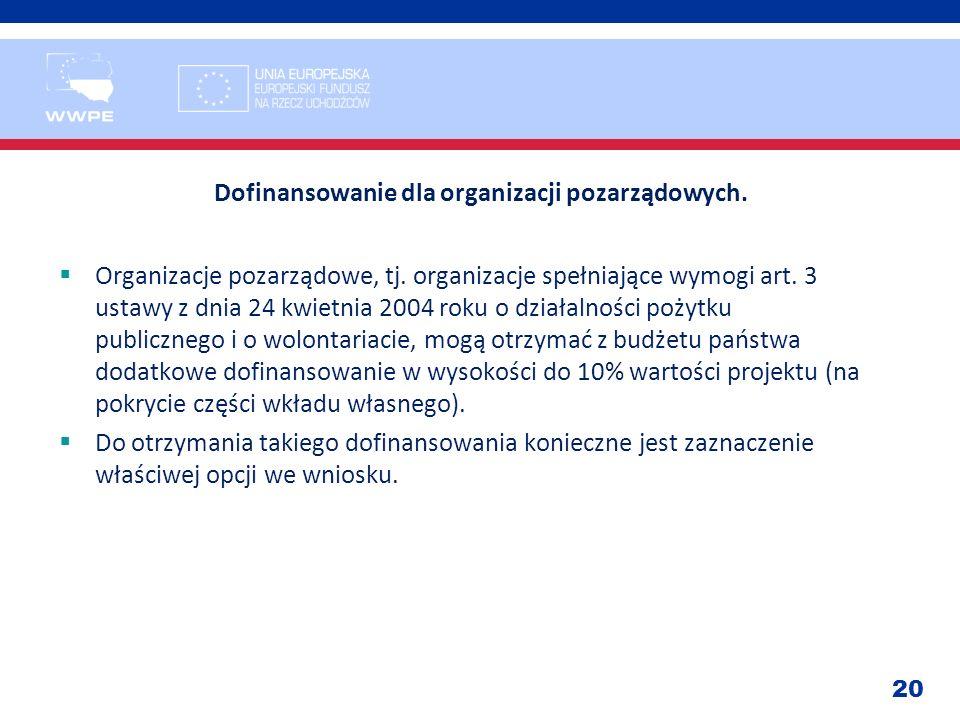 20 Dofinansowanie dla organizacji pozarządowych. Organizacje pozarządowe, tj. organizacje spełniające wymogi art. 3 ustawy z dnia 24 kwietnia 2004 rok