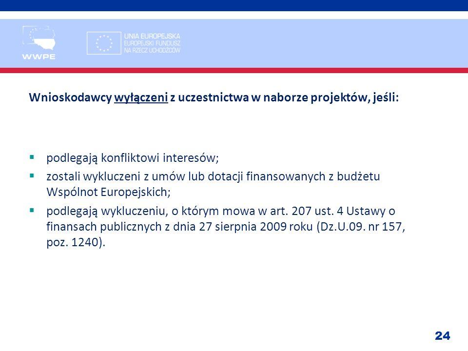 24 Wnioskodawcy wyłączeni z uczestnictwa w naborze projektów, jeśli: podlegają konfliktowi interesów; zostali wykluczeni z umów lub dotacji finansowan