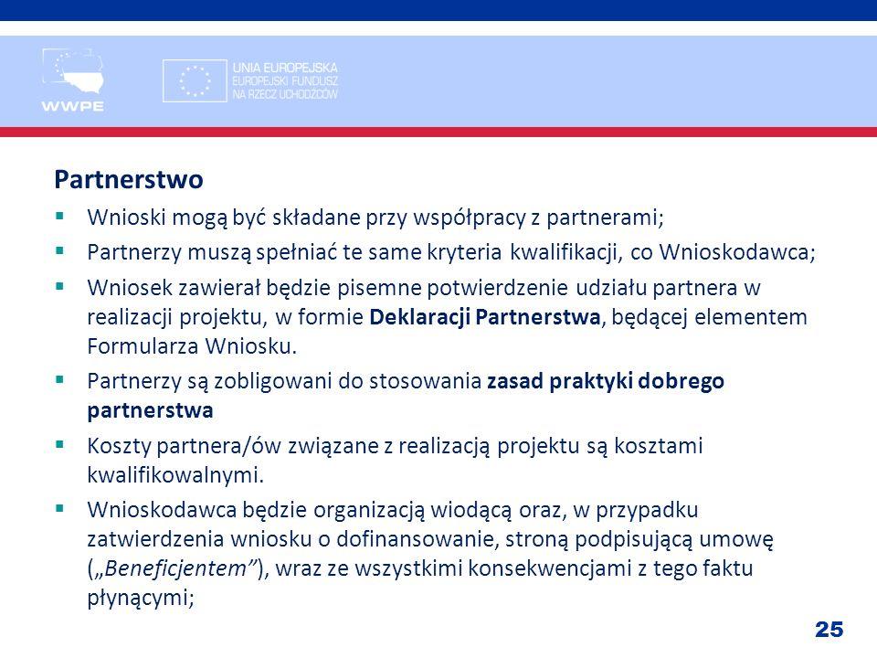 25 Partnerstwo Wnioski mogą być składane przy współpracy z partnerami; Partnerzy muszą spełniać te same kryteria kwalifikacji, co Wnioskodawca; Wniose
