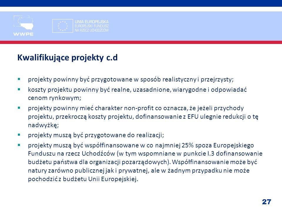 27 Kwalifikujące projekty c.d projekty powinny być przygotowane w sposób realistyczny i przejrzysty; koszty projektu powinny być realne, uzasadnione,