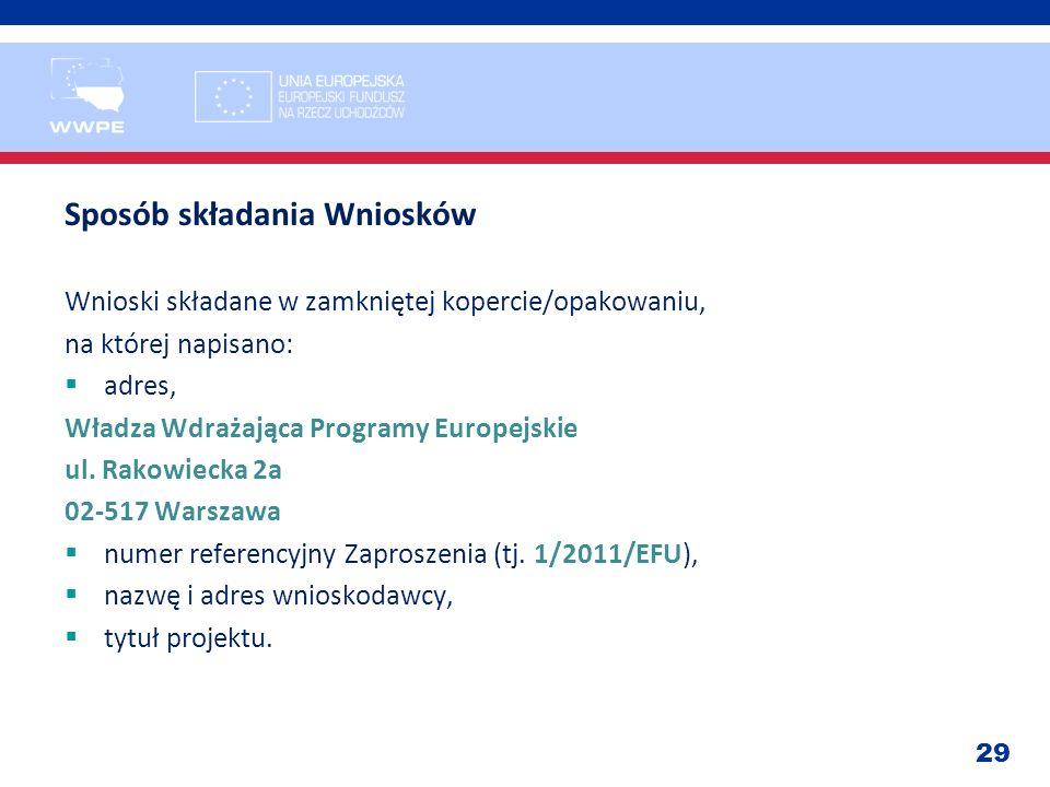 29 Sposób składania Wniosków Wnioski składane w zamkniętej kopercie/opakowaniu, na której napisano: adres, Władza Wdrażająca Programy Europejskie ul.