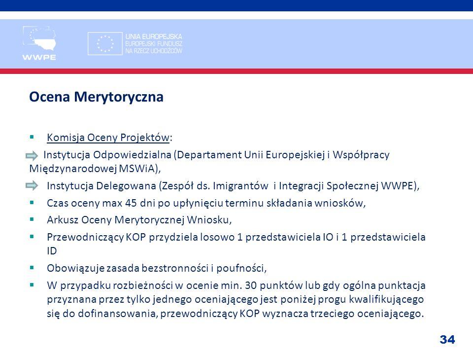 34 Ocena Merytoryczna Komisja Oceny Projektów: - Instytucja Odpowiedzialna (Departament Unii Europejskiej i Współpracy Międzynarodowej MSWiA), Instytu