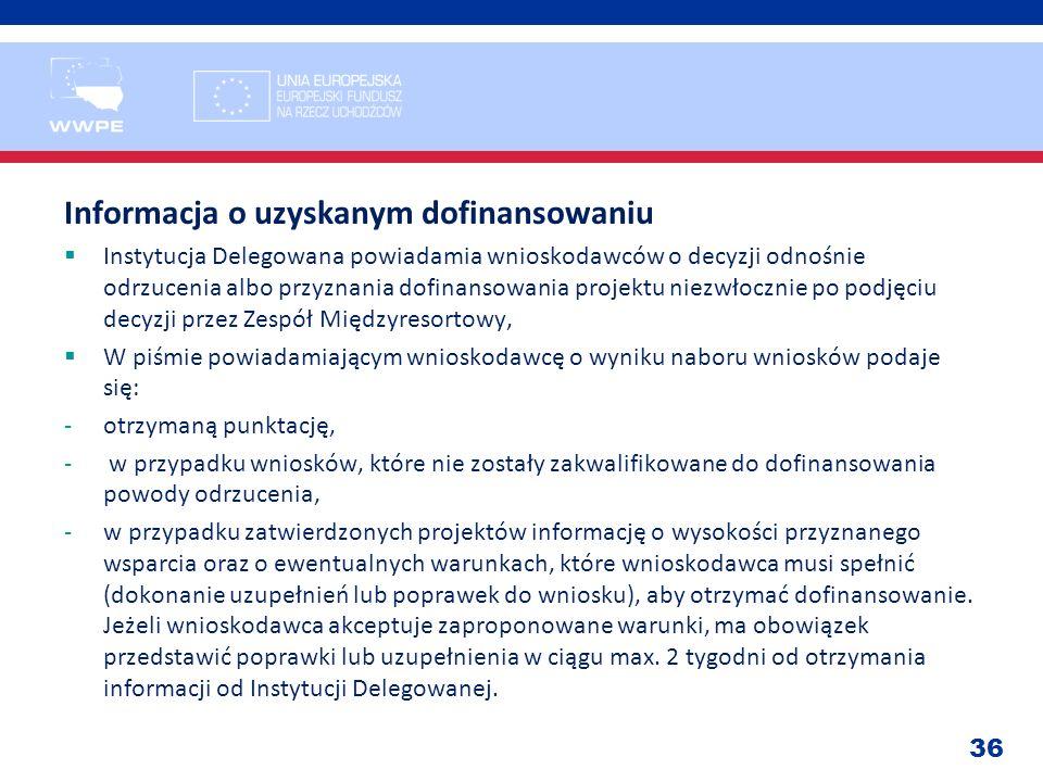 36 Informacja o uzyskanym dofinansowaniu Instytucja Delegowana powiadamia wnioskodawców o decyzji odnośnie odrzucenia albo przyznania dofinansowania p