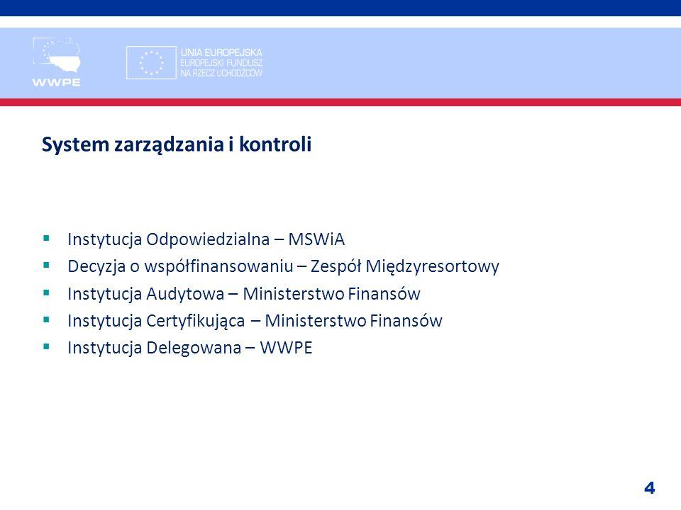 4 System zarządzania i kontroli Instytucja Odpowiedzialna – MSWiA Decyzja o współfinansowaniu – Zespół Międzyresortowy Instytucja Audytowa – Ministers