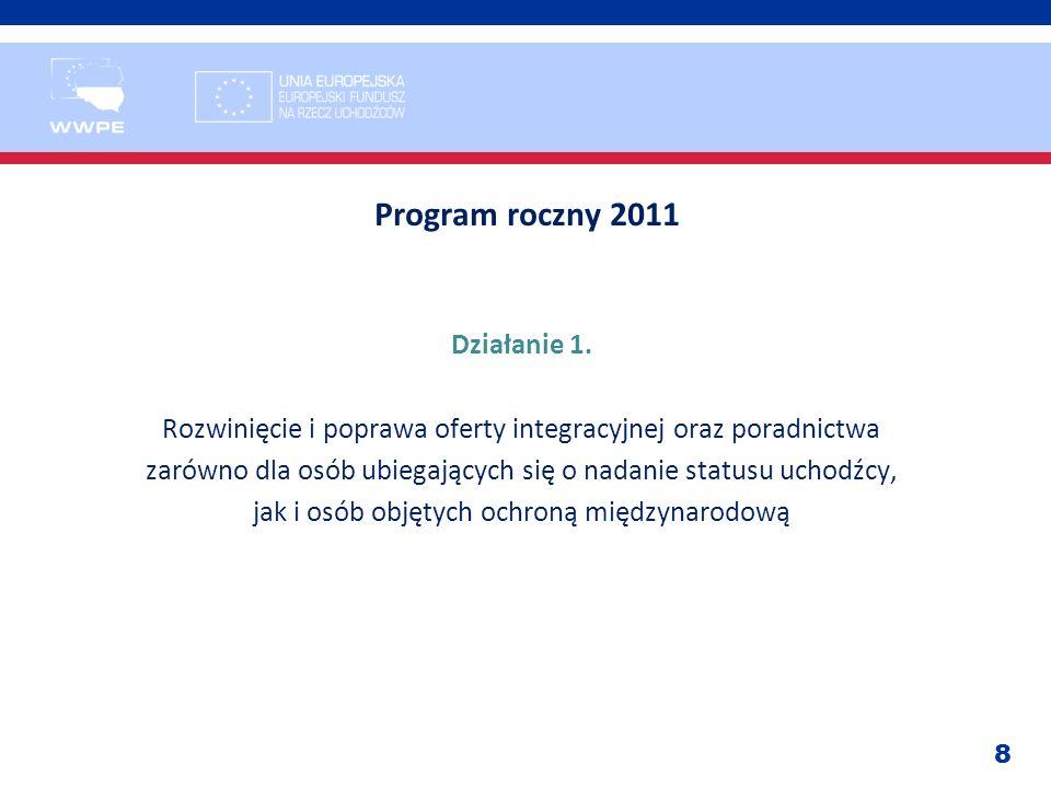 8 Program roczny 2011 Działanie 1. Rozwinięcie i poprawa oferty integracyjnej oraz poradnictwa zarówno dla osób ubiegających się o nadanie statusu uch