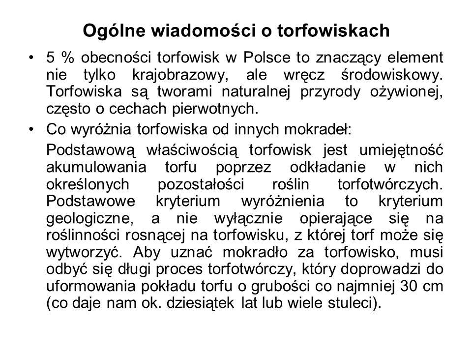 Ogólne wiadomości o torfowiskach 5 % obecności torfowisk w Polsce to znaczący element nie tylko krajobrazowy, ale wręcz środowiskowy. Torfowiska są tw