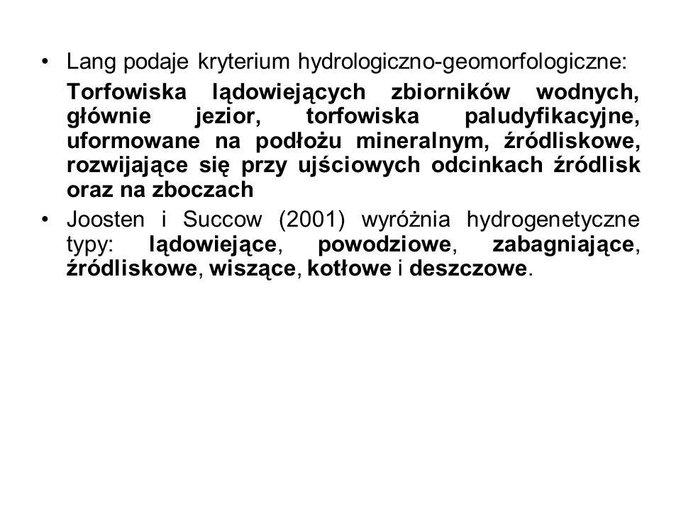 Lang podaje kryterium hydrologiczno-geomorfologiczne: Torfowiska lądowiejących zbiorników wodnych, głównie jezior, torfowiska paludyfikacyjne, uformow