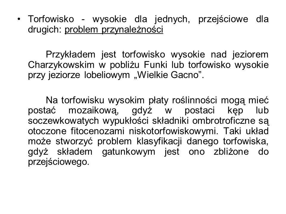 Torfowisko - wysokie dla jednych, przejściowe dla drugich: problem przynależności Przykładem jest torfowisko wysokie nad jeziorem Charzykowskim w pobl