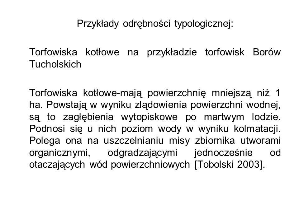 Przykłady odrębności typologicznej: Torfowiska kotłowe na przykładzie torfowisk Borów Tucholskich Torfowiska kotłowe-mają powierzchnię mniejszą niż 1