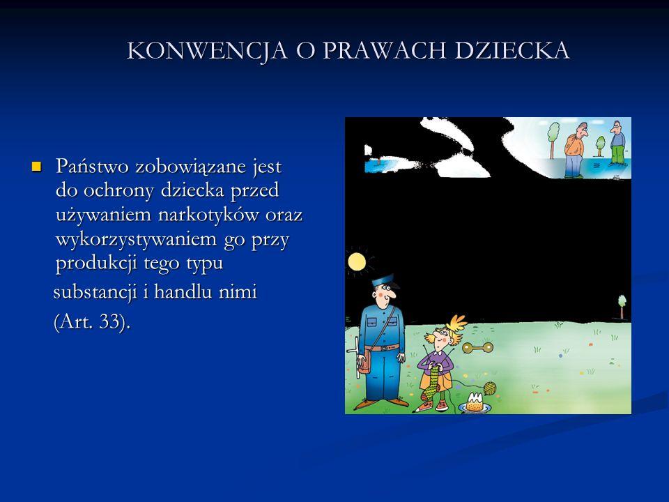 KONWENCJA O PRAWACH DZIECKA Państwo zobowiązane jest do ochrony dziecka przed używaniem narkotyków oraz wykorzystywaniem go przy produkcji tego typu P