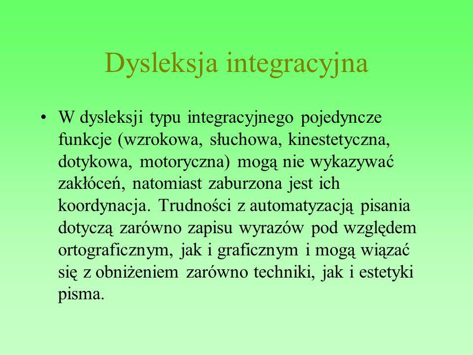 Dysleksja integracyjna W dysleksji typu integracyjnego pojedyncze funkcje (wzrokowa, słuchowa, kinestetyczna, dotykowa, motoryczna) mogą nie wykazywać