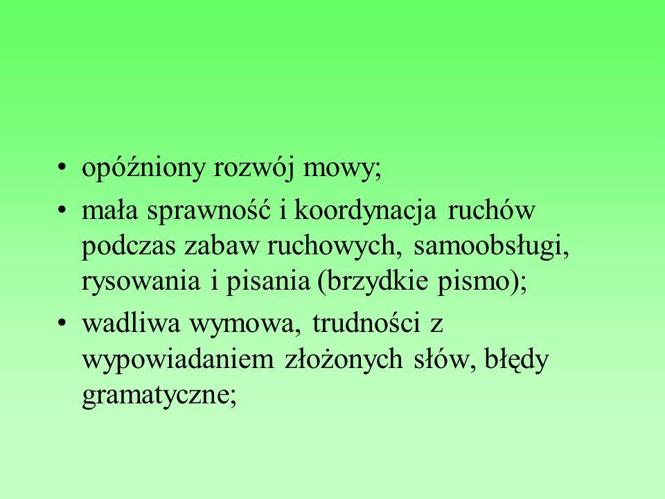 opóźniony rozwój mowy; mała sprawność i koordynacja ruchów podczas zabaw ruchowych, samoobsługi, rysowania i pisania (brzydkie pismo); wadliwa wymowa,