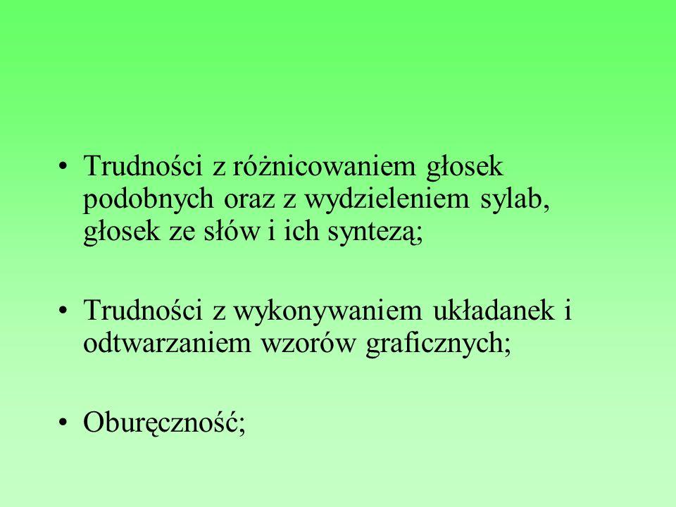 Trudności z różnicowaniem głosek podobnych oraz z wydzieleniem sylab, głosek ze słów i ich syntezą; Trudności z wykonywaniem układanek i odtwarzaniem