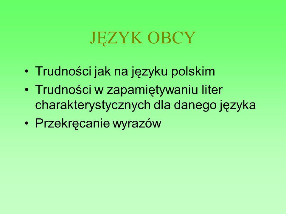 JĘZYK OBCY Trudności jak na języku polskim Trudności w zapamiętywaniu liter charakterystycznych dla danego języka Przekręcanie wyrazów