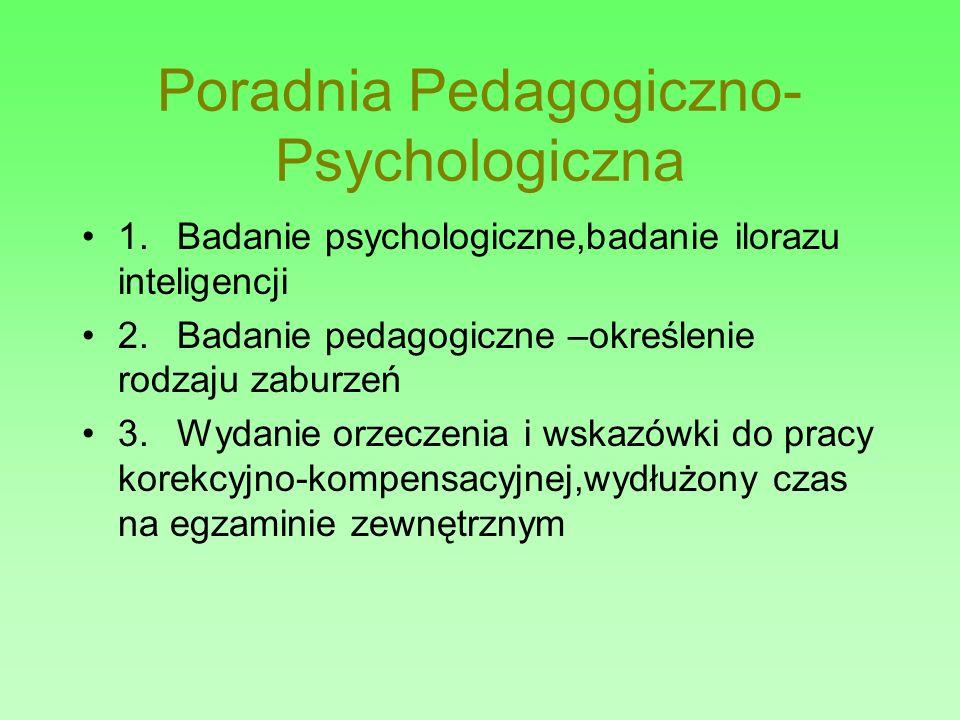 Poradnia Pedagogiczno- Psychologiczna 1. Badanie psychologiczne,badanie ilorazu inteligencji 2. Badanie pedagogiczne –określenie rodzaju zaburzeń 3. W