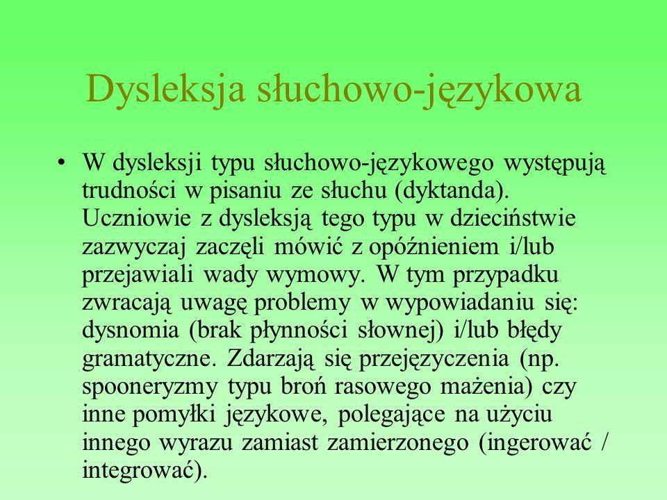 Dysleksja słuchowo-językowa W dysleksji typu słuchowo-językowego występują trudności w pisaniu ze słuchu (dyktanda). Uczniowie z dysleksją tego typu w
