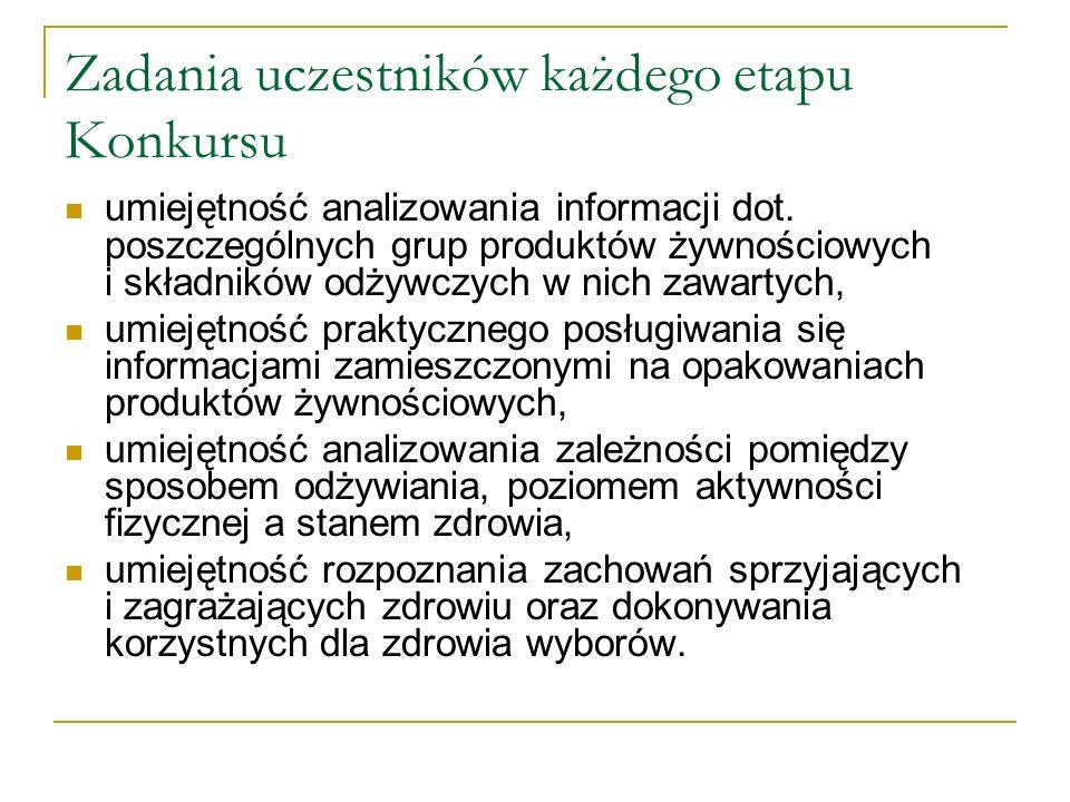 Przebieg Konkursu I ETAP- SZKOLNY Test wiedzy przeprowadzony 11 stycznia 2013 r.