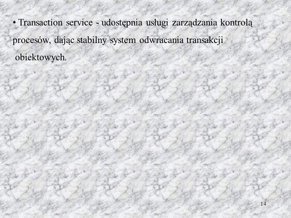14 Transaction service - udostępnia usługi zarządzania kontrolą procesów, dając stabilny system odwracania transakcji obiektowych.