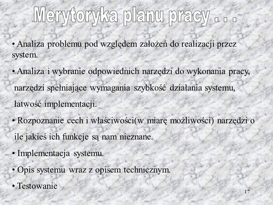 17 Analiza problemu pod względem założeń do realizacji przez system. Analiza i wybranie odpowiednich narzędzi do wykonania pracy, narzędzi spełniające