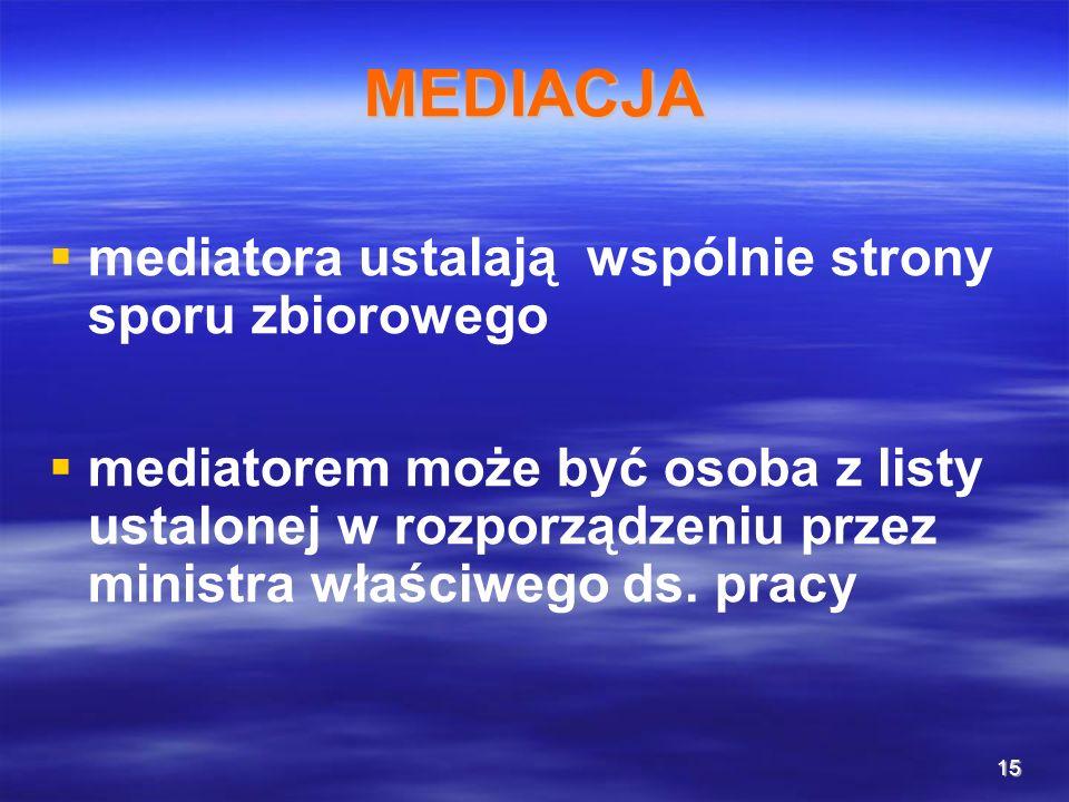 15 MEDIACJA mediatora ustalają wspólnie strony sporu zbiorowego mediatorem może być osoba z listy ustalonej w rozporządzeniu przez ministra właściwego