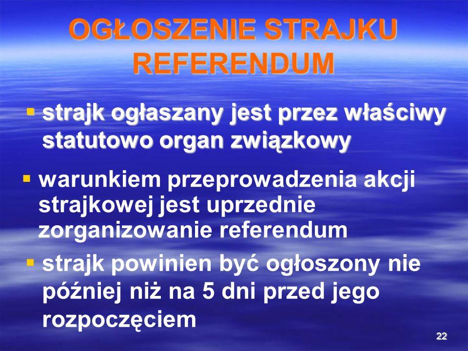 22 OGŁOSZENIE STRAJKU REFERENDUM strajk ogłaszany jest przez właściwy statutowo organ związkowy strajk ogłaszany jest przez właściwy statutowo organ z