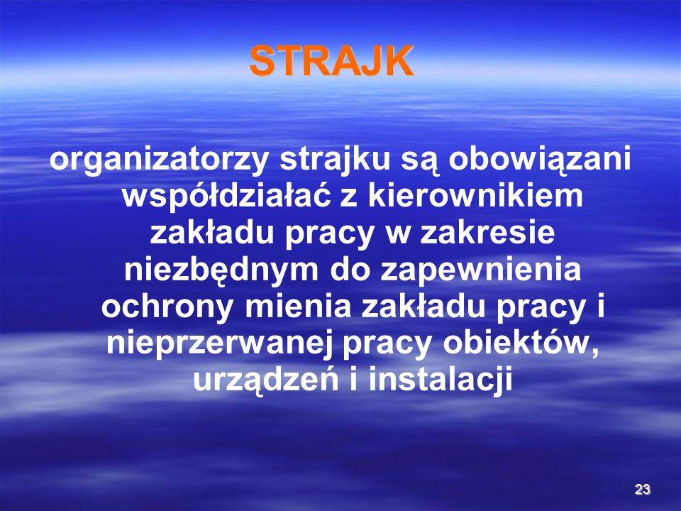 23 STRAJK organizatorzy strajku są obowiązani współdziałać z kierownikiem zakładu pracy w zakresie niezbędnym do zapewnienia ochrony mienia zakładu pr