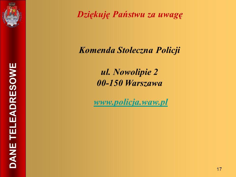 17 Dziękuję Państwu za uwagę Komenda Stołeczna Policji ul. Nowolipie 2 00-150 Warszawa www.policja.waw.pl DANE TELEADRESOWE
