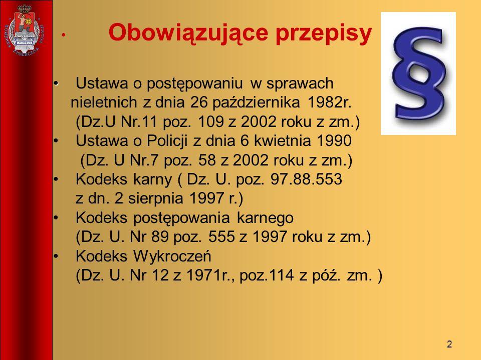 2 Obowiązujące przepisy Ustawa o postępowaniu w sprawach nieletnich z dnia 26 października 1982r. (Dz.U Nr.11 poz. 109 z 2002 roku z zm.) Ustawa o Pol