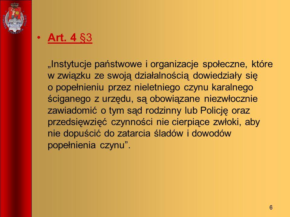 6 Art. 4 §3 Instytucje państwowe i organizacje społeczne, które w związku ze swoją działalnością dowiedziały się o popełnieniu przez nieletniego czynu