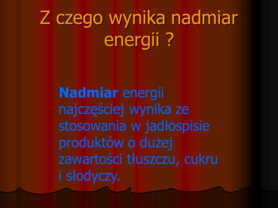 Z czego wynika nadmiar energii ? Nadmiar energii najczęściej wynika ze stosowania w jadłospisie produktów o dużej zawartości tłuszczu, cukru i słodycz