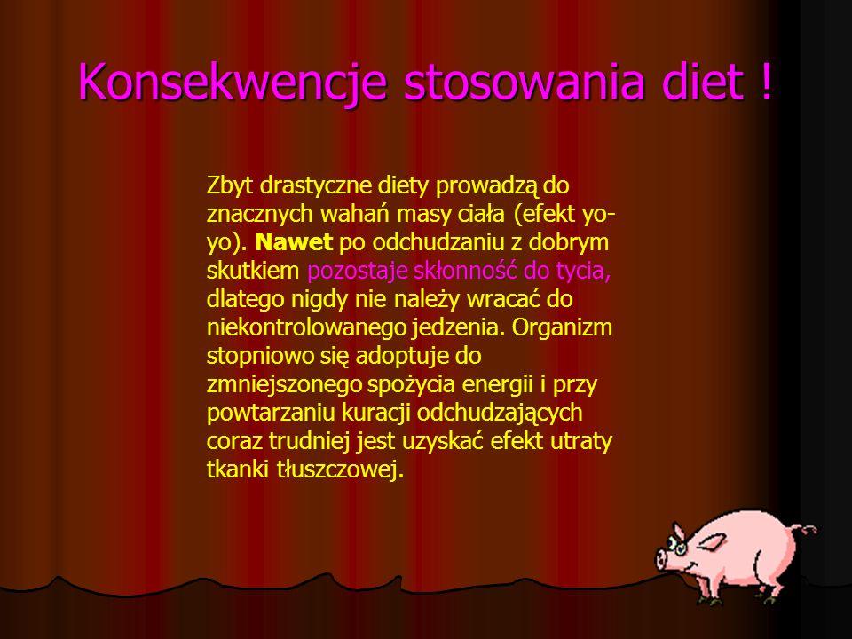 Konsekwencje stosowania diet ! Zbyt drastyczne diety prowadzą do znacznych wahań masy ciała (efekt yo- yo). Nawet po odchudzaniu z dobrym skutkiem poz