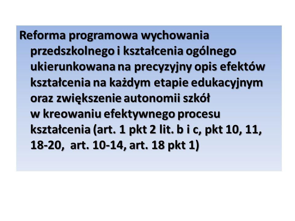 Reforma programowa wychowania przedszkolnego i kształcenia ogólnego ukierunkowana na precyzyjny opis efektów kształcenia na każdym etapie edukacyjnym