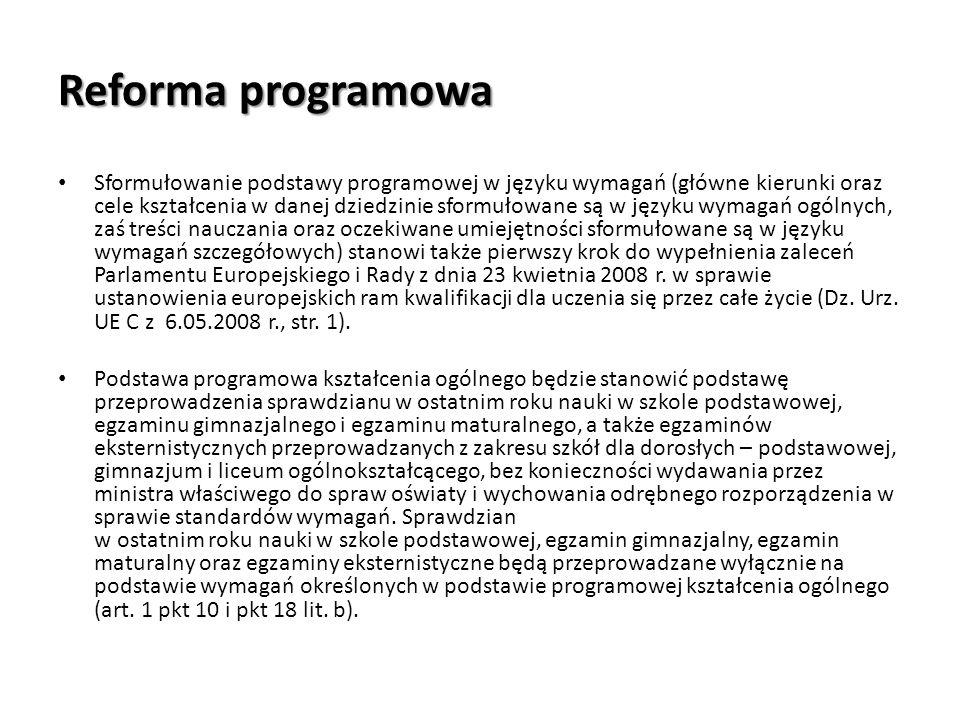 Reforma programowa Sformułowanie podstawy programowej w języku wymagań (główne kierunki oraz cele kształcenia w danej dziedzinie sformułowane są w jęz