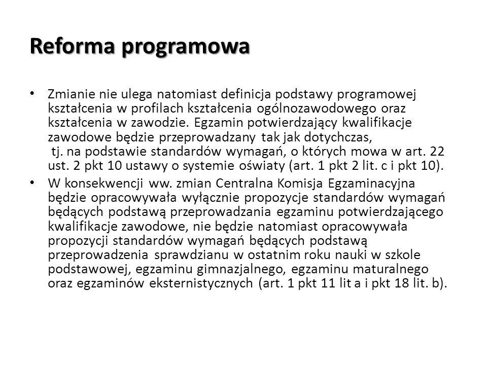 Reforma programowa Zmianie nie ulega natomiast definicja podstawy programowej kształcenia w profilach kształcenia ogólnozawodowego oraz kształcenia w