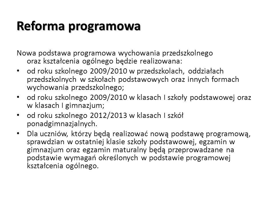 Reforma programowa Nowa podstawa programowa wychowania przedszkolnego oraz kształcenia ogólnego będzie realizowana: od roku szkolnego 2009/2010 w prze