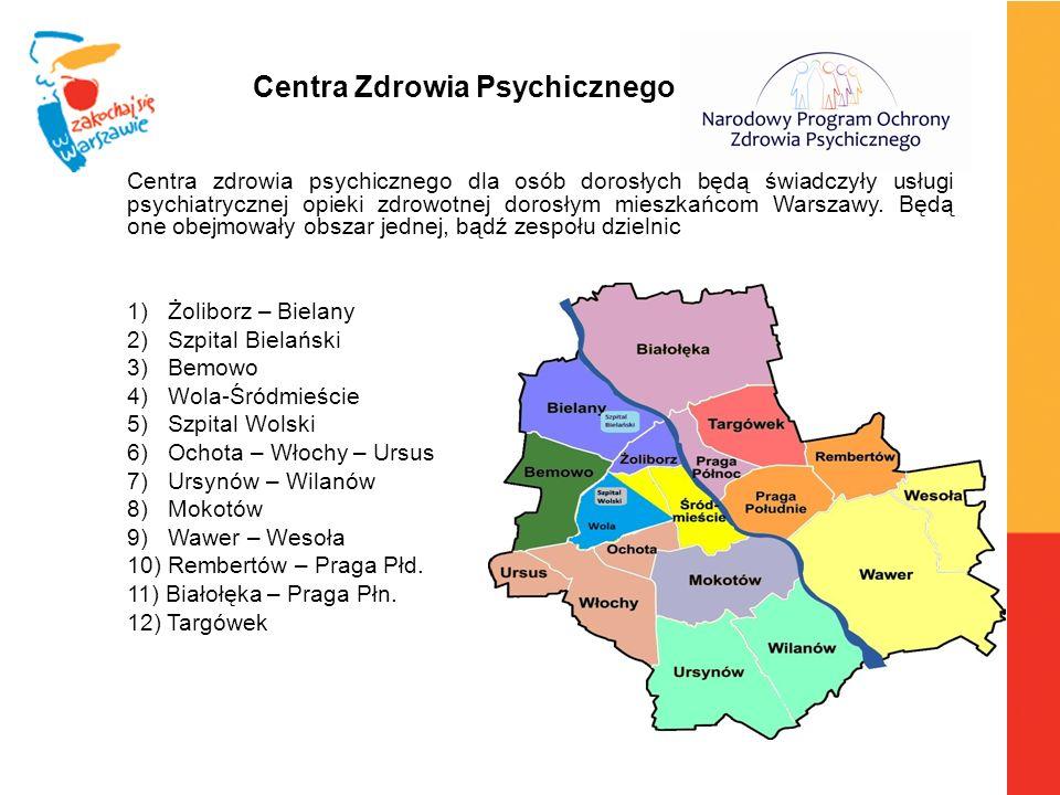 Centra zdrowia psychicznego dla osób dorosłych będą świadczyły usługi psychiatrycznej opieki zdrowotnej dorosłym mieszkańcom Warszawy. Będą one obejmo
