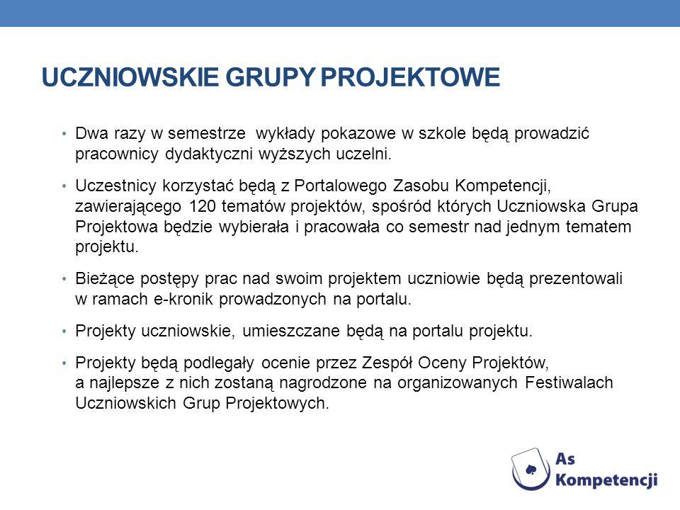 UCZNIOWSKIE GRUPY PROJEKTOWE Uczniowskie Grupy Projektowe będą pracowały również ponadregionalnie korzystając z możliwości jakie w tym zakresie umożliwi im portal projektu (m.in.