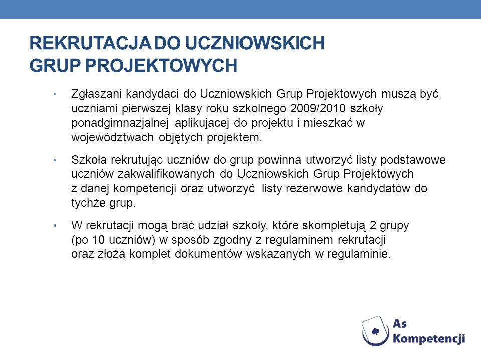 REKRUTACJA DO UCZNIOWSKICH GRUP PROJEKTOWYCH W celu zgłoszenia uczniów i szkoły do postępowania rekrutacyjnego dyrektor lub v-ce dyrektor szkoły powinien przesłać do Biura projektu, pod adres COMBIDATA Poland Sp.