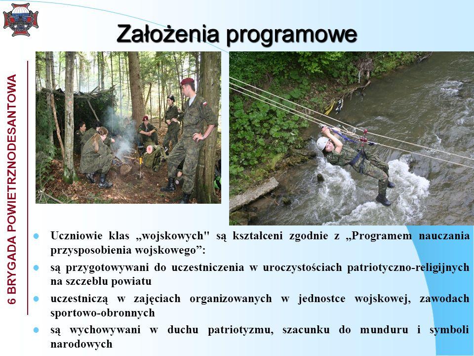 6 BRYGADA POWIETRZNODESANTOWA Założenia programowe poznają tradycje kultury, które kształtują postawy preferujące honor i szacunek dla drugiego człowieka zdobywają wiedzę o siłach zbrojnych Rzeczypospolitej Polskiej, regulaminach wojskowych, musztrze, zasadach posługiwania się bronią, szkoleniu strzeleckim, sanitarnym, saperskim, logistycznym, terenoznawstwie, taktyce w szkole i w miejscach publicznych noszą mundury w ramach zajęć organizowane są obozy sprawnościowe, kursy nadające określone kwalifikacje