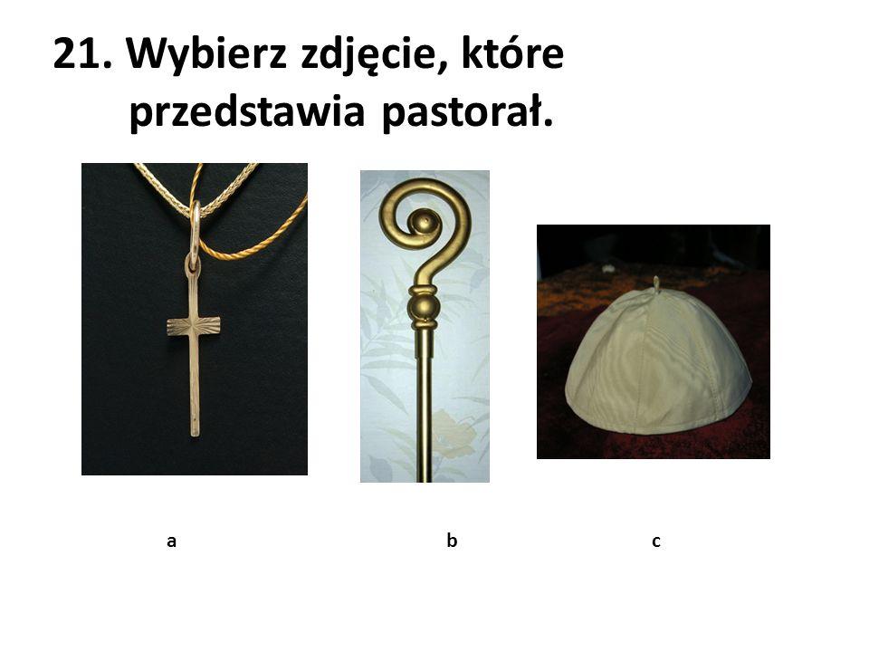 21. Wybierz zdjęcie, które przedstawia pastorał. a b c
