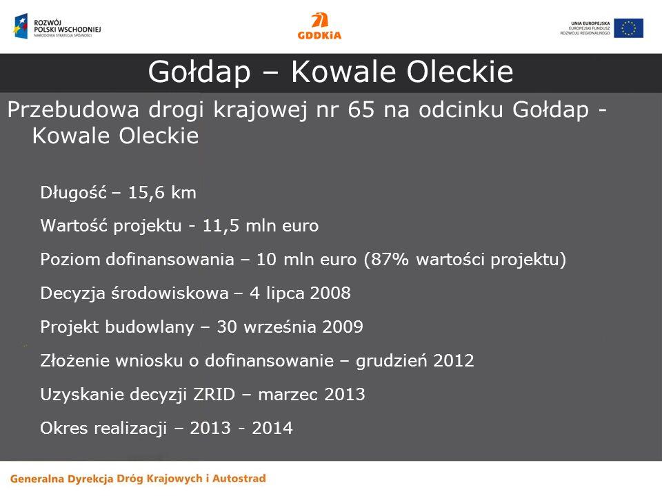 Gołdap – Kowale Oleckie Przebudowa drogi krajowej nr 65 na odcinku Gołdap - Kowale Oleckie Długość – 15,6 km Wartość projektu - 11,5 mln euro Poziom d