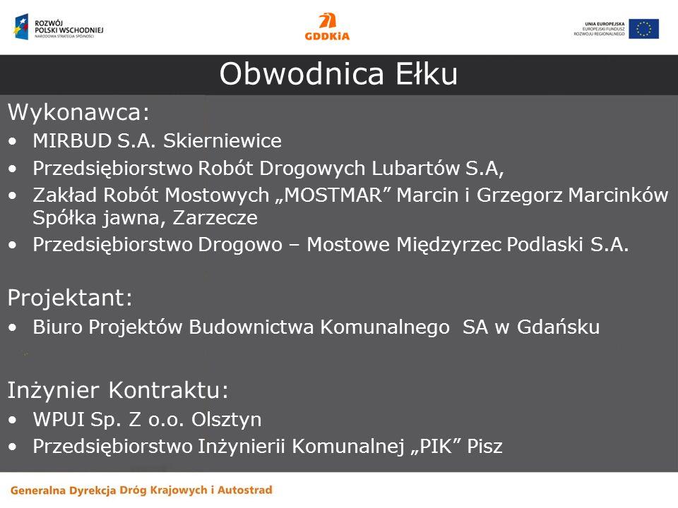 Obwodnica Ełku Zakres inwestycji: - obwodnica – droga klasy GP o przekroju 1x2 i 2x2 - drogi zbiorcze, lokalne i dojazdowe, gospodarcze, - skrzyżowania typu średnie rondo na przecięciu obwodnicy z ul.11 Listopada i drogi wojewódzkiej nr 656, - węzły typu WB Ełk-Północ i Ełk-Zachód - obiekty inżynierskie (1 most, 1 tunel pod linią kolejową, 2 wiadukty nad linią kolejową, 3 wiadukty drogowe) - urządzenia ochrony środowiska (np.