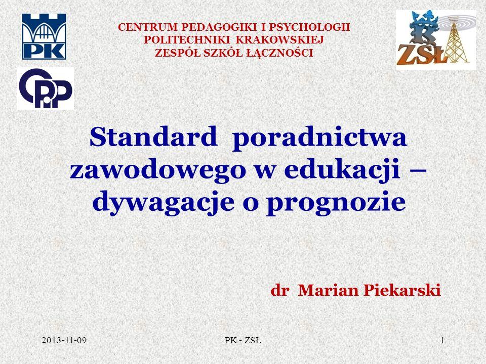 Standard jako minimum wymagań 1.Powinien być tworzony, 2.Wypracowanie ram postępowania, 3.Wypełnianie standardu musi podlegać wciąż na nowo negocjowaniu i renegocjowaniu, 4.W zmieniającym się świecie nie można ostatecznie ustalić sztywnych kryteriów standardów usług poradniczych ani tylko jednego modelu jakości, 2013-11-0932PK - ZSŁ