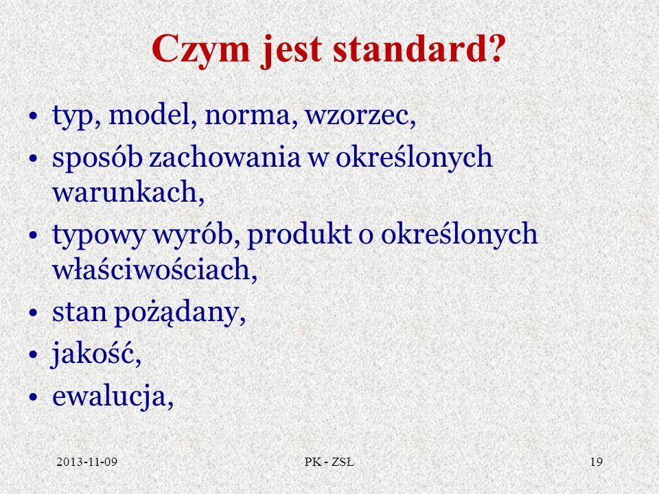Czym jest standard? typ, model, norma, wzorzec, sposób zachowania w określonych warunkach, typowy wyrób, produkt o określonych właściwościach, stan po