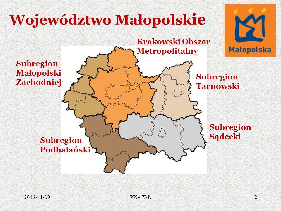 Województwo Małopolsk ie 2013-11-092PK - ZSŁ Krakowski Obszar Metropolitalny Subregion Tarnowski Subregion Sądecki Subregion Podhalański Subregion Mał