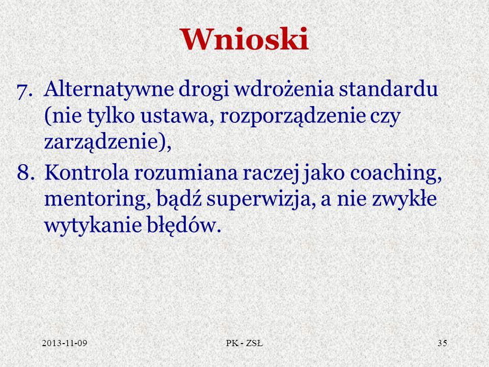 Wnioski 7.Alternatywne drogi wdrożenia standardu (nie tylko ustawa, rozporządzenie czy zarządzenie), 8.Kontrola rozumiana raczej jako coaching, mentor