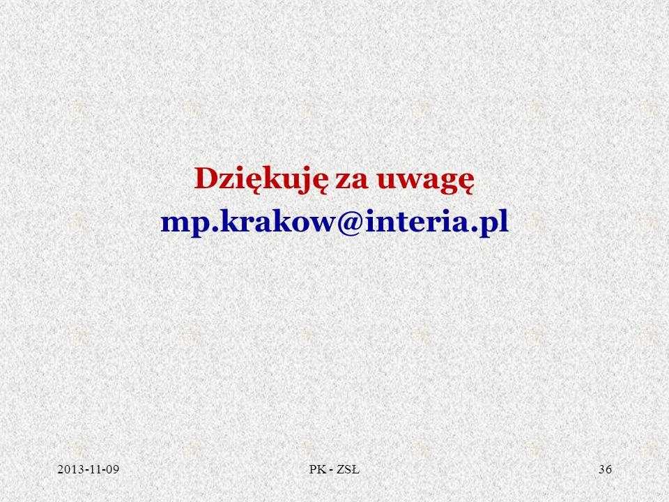 Dziękuję za uwagę mp.krakow@interia.pl 2013-11-0936PK - ZSŁ