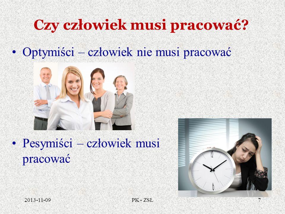 Czy człowiek musi pracować? 2013-11-097PK - ZSŁ Optymiści – człowiek nie musi pracować Pesymiści – człowiek musi pracować
